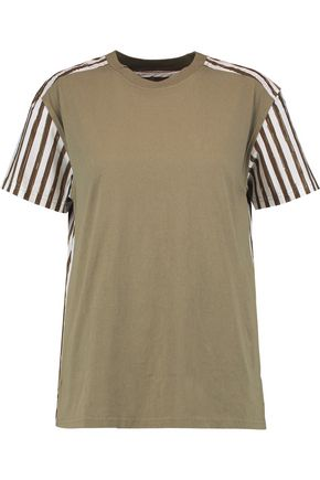 MARC BY MARC JACOBS Cotton-jersey and printed cotton-blend poplin T-shirt