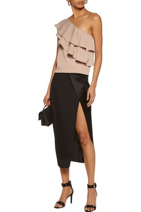W118 by WALTER BAKER Miranda one-shoulder ruffled crepe de chine top
