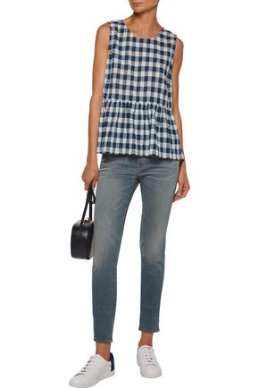 CURRENT/ELLIOTT Gingham cotton-blend gauze peplum top