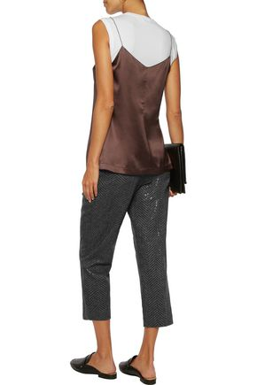 BRUNELLO CUCINELLI Layered silk-blend satin and cotton-blend jersey top