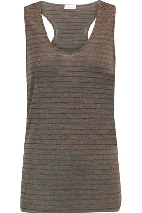 BRUNELLO CUCINELLI Metallic striped wool-blend top