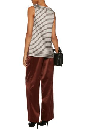 BRUNELLO CUCINELLI Striped stretch-silk satin top