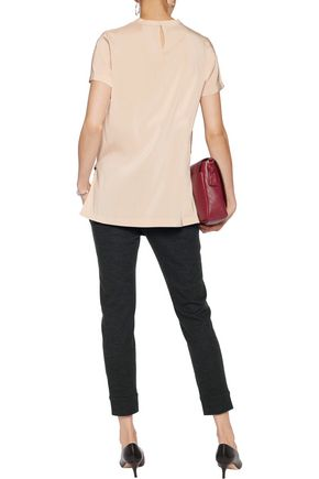 BRUNELLO CUCINELLI Satin-paneled washed-silk top