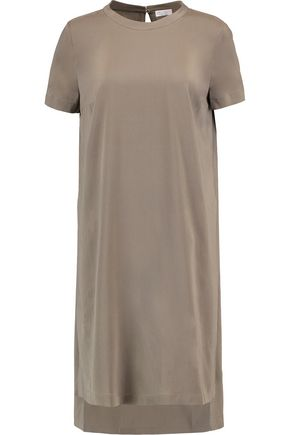 BRUNELLO CUCINELLI Chain-trimmed stretch-silk tunic