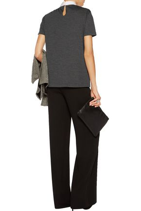 BRUNELLO CUCINELLI Pussy-bow wool-jersey T-shirt