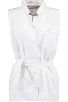 MAISON MARGIELA Belted cotton-poplin shirt