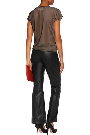 MAISON MARGIELA Embellished mesh-paneled satin top