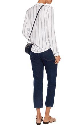 SPLENDID Wrap-effect brushed striped jersey top