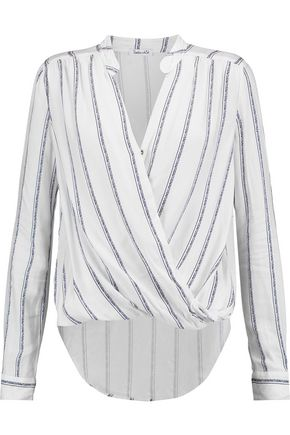 SPLENDID Wrap-effect brushed striped jersey top