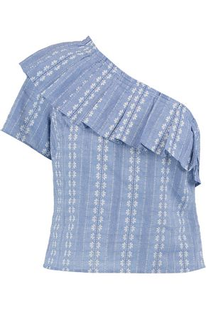 SPLENDID One-shoulder cotton-jacquard top