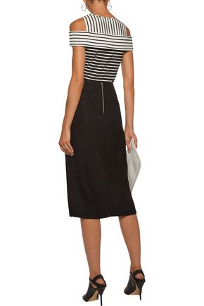 DEREK LAM 10 CROSBY Cold-shoulder striped ponte top