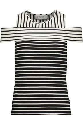 10 CROSBY DEREK LAM Cold-shoulder striped ponte top