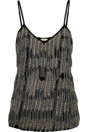 HAUTE HIPPIE Embellished fringed silk crepe de chine top