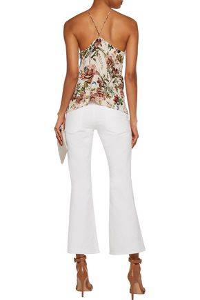 HAUTE HIPPIE Cross My Heart lace-up printed silk crepe de chine top