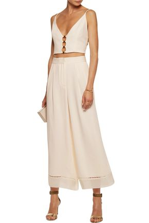 ZIMMERMANN Cropped cutout embellished crepe top