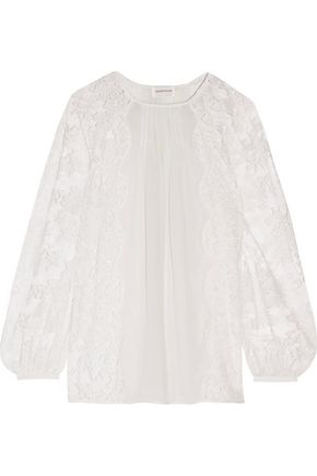 ZIMMERMANN Kamric pintucked paneled cotton-blend lace and georgette top