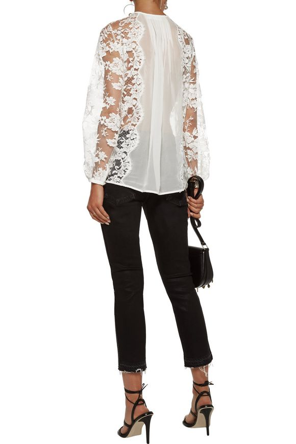 Karmic pintucked paneled cotton-blend lace and georgette top | ZIMMERMANN |  Sale up to 70% off | THE OUTNET