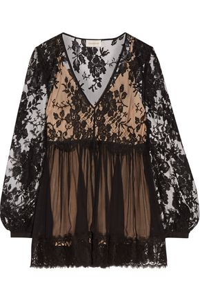 ZIMMERMANN Lace-paneled silk-georgette top