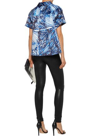 MILLY Printed satin-twill shirt