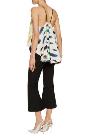 MILLY Trapeze printed crinkled-gauze camisole