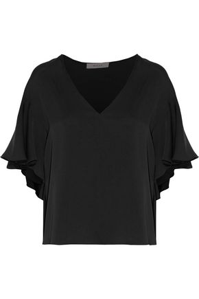 MILLY Ruffled stretch-silk top