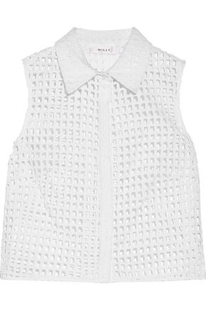 MILLY Cropped broderie anglaise cotton-blend shirt