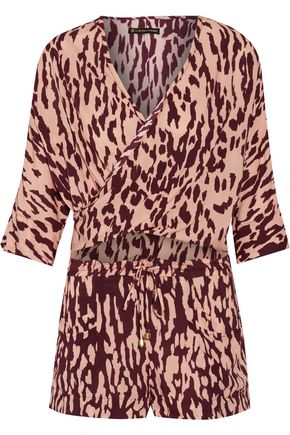 VIX Bali Margot cutout wrap-effect printed voile playsuit