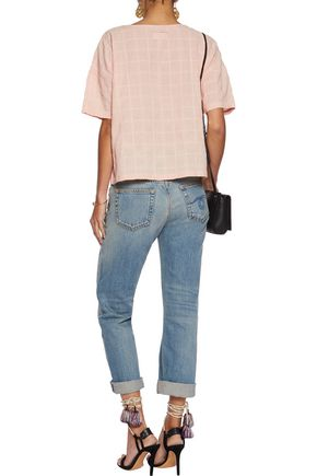 CURRENT/ELLIOTT The Pocket embroidered slub cotton-blend top