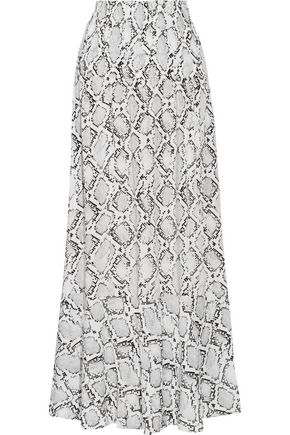 VIX PAULA HERMANNY Snake-print crepe de chine maxi skirt