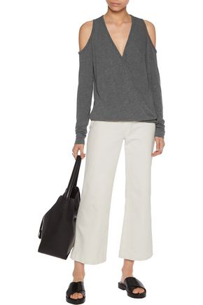 BAILEY 44 Cold-shoulder wrap-effect jersey sweater