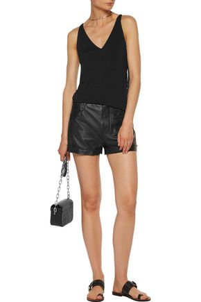 HAUTE HIPPIE So Lets Go Dancing faux leather-trimmed fringed jersey tank