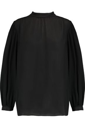 CHRISTOPHER KANE Gathered stud-embellished silk-georgette top