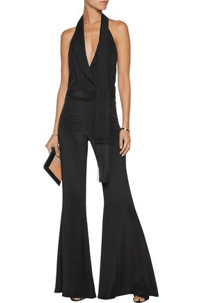 HAUTE HIPPIE Draped silk-twill halterneck bodysuit