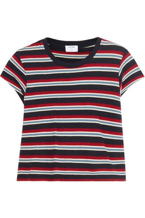 RE/DONE Cropped striped cotton-jersey top