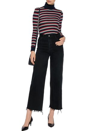 RE/DONE Striped cotton-jersey turtleneck top