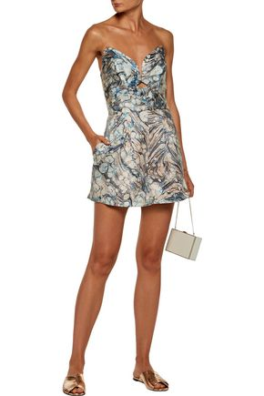 ZIMMERMANN Tarot Marble strapless cutout printed silk playsuit