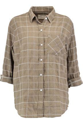 CURRENT/ELLIOTT The Boyfriend embroidered slub cotton-blend shirt