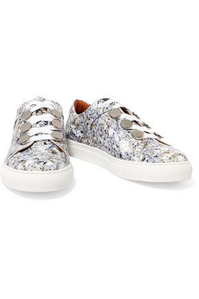 CARVEN Resonance printed patent-leather sneakers