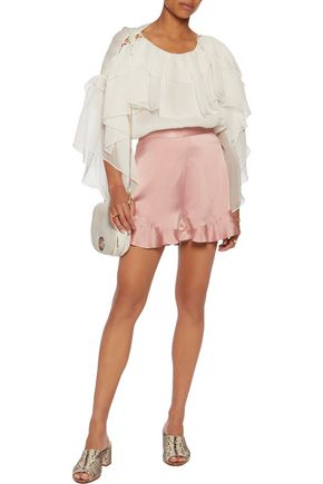 ZIMMERMANN Ruffled silk-satin shorts