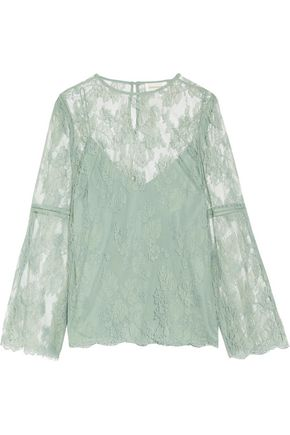 ZIMMERMANN Master open knit-trimmed corded lace blouse