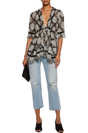 ZIMMERMANN Pavilion asymmetric embroidered silk-chiffon top