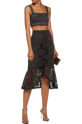 ZIMMERMANN Cropped embroidered cotton and silk-blend top