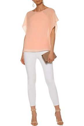 BAILEY 44 Layered georgette and stretch-jersey top