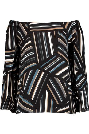 BAILEY 44 Off-the-shoulder printed chiffon top