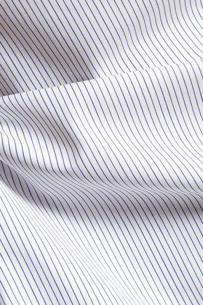 SANDRO Slit-back striped cotton-poplin top
