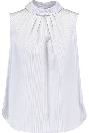 SANDRO Slit-back striped cotton-poplin top
