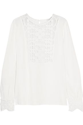 SANDRO Macramé lace-paneled crepe top