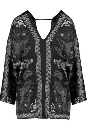 SANDRO Printed crepe de chine top