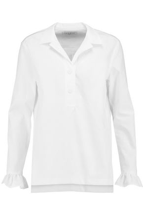 SANDRO Paris Ruffle-trimmed cotton-poplin shirt