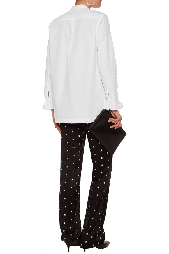 Ruffle-trimmed cotton-poplin shirt | SANDRO Paris | Sale up to 70% off |  THE OUTNET